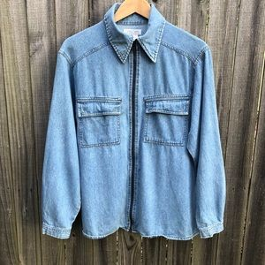 (Women's S) Vintage late 90s Denim zip up shirt
